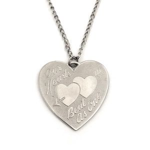 "Jewelry - Vintage ""Our Hearts Beat As One"" Silver Necklace"